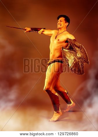 Athletic male in the image of an ancient warrior strikes with a sword on a background of fire heat and smoke.