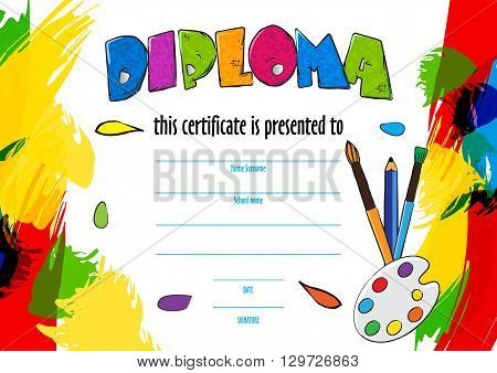 vector  childrens diploma certificate for delivery on a creative contest in kindergarten or school. diploma of childrens paint brushes and palette for artists. Vector colorful background