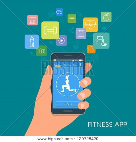 Smart phone sport app with icons. Fitness mobile application concept. Vector illustration in flat style design.