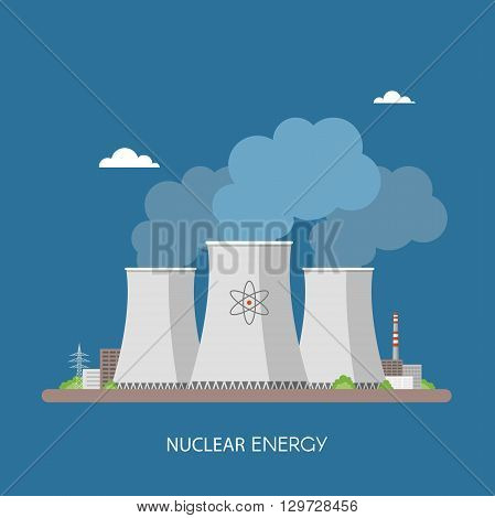 Nuclear power plant and factory. Nuclear energy industrial concept. Vector illustration in flat style. Nuclear station background.