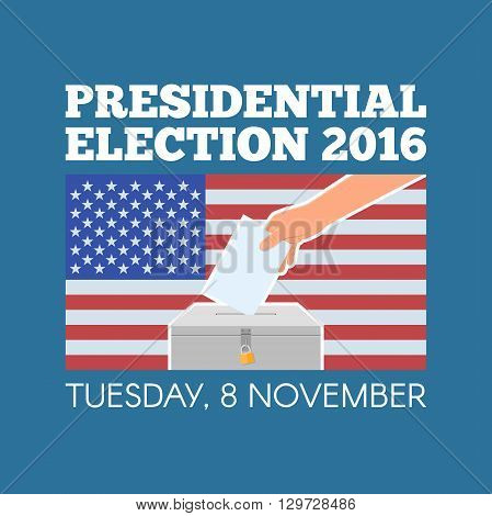 USA presidential election day concept vector illustration. Hand putting voting paper in the ballot box with american flag on background. Voting concept in flat style.