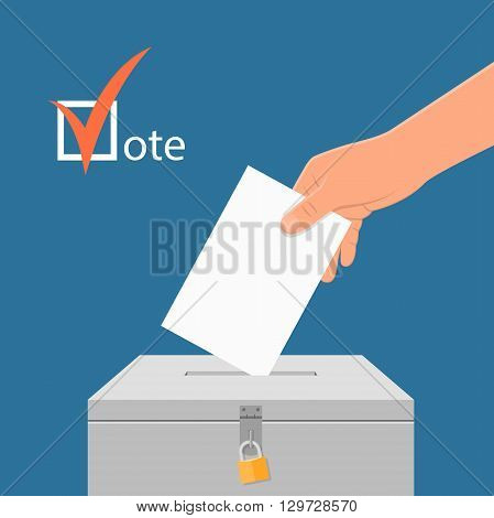 Election day concept vector illustration. Hand putting voting paper in the ballot box. Voting concept in flat style.