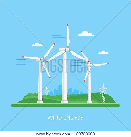 Wind power plant and factory. Wind turbines. Green energy industrial concept. Vector illustration in flat style. Wind power station background. Renewable energy sources.