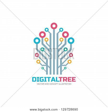 Digital tree - vector logo concept illustration. Neuro network logo sign. Computer technology logo. Vector logo template.