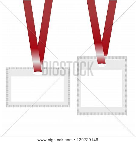 Identification white blank plastic id cards with lanyards. Vector illustration