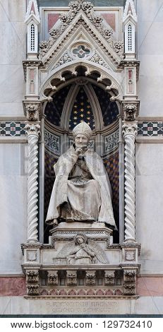 FLORENCE, ITALY - JUNE 05: St. Antoninus (Antonio Pierozzi, the Archbishop of Florence), Portal of Cattedrale di Santa Maria del Fiore, Florence, Italy on June 05, 2015