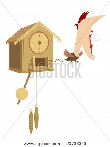 Cuckoo clock with the man head announce the time