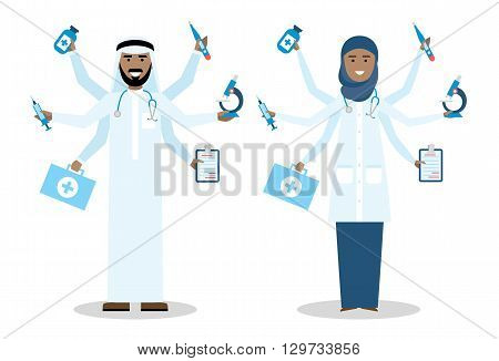 Multitasking arabian doctors with six hands standing on white background. Medical treatment, fast diagnosis and emergency. Doctor shiva is a concept of multiskilled doctor. Man and woman.
