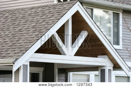 Gable End On New House With Shingles And Cedar Lined Interior