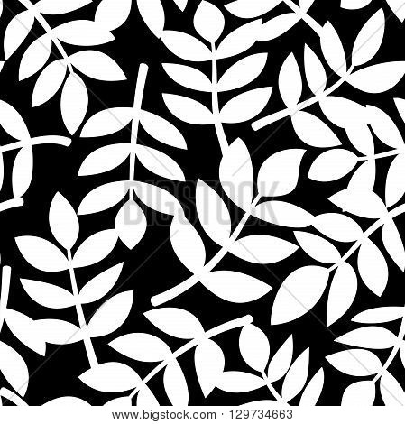 Simple abstract plant leaves randomly arranged on background, black and white  vector seamless pattern