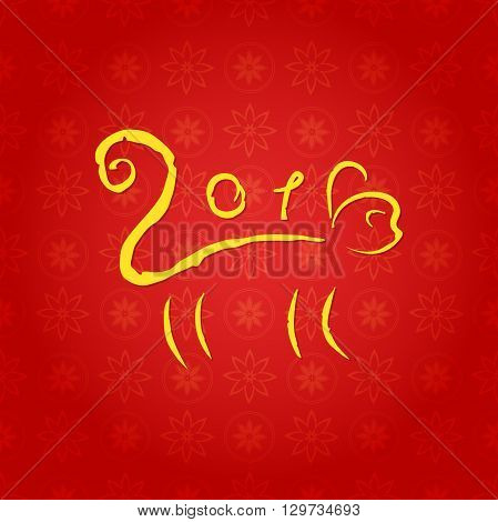 The new year of the monkey, Chinese zodiac, drawing encrypted in letters, vector illustration on the beautiful Chinese background