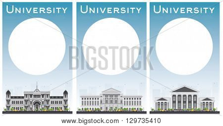 Set of university study banners with copy space. Vector illustration. Students go to the gray building. University with blue sky. Banner with copy space. University buildings. University concept.