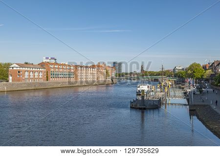 Cityscape With Teerhof On The Left  At River Weser
