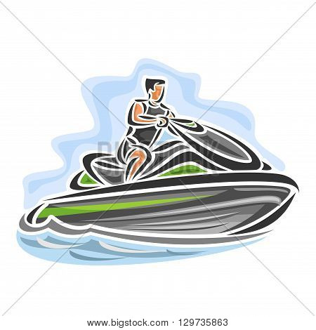Vector illustration of logo for high-speed jet ski, consisting of speed power water motorcycle bike, floating on the ocean sea waves, sport racing jet ski close-up on blue background