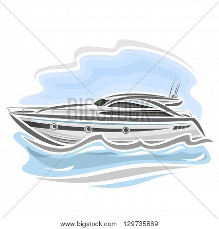 Vector illustration of logo for speed boat powerboat, consisting of racing motorboat, floating on the ocean sea waves, luxury expensive sport  motor longboat close-up on blue background poster