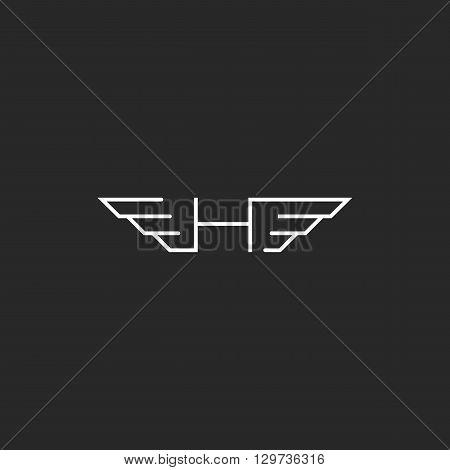 Feathered Letter H Logo, Wingy Monogram Emblem, Idea Thin Line Car Branding Wings Symbol