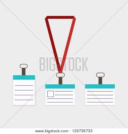 Id Badge With Lanyard. Identification White Blank Plastic Id Cards Set. Isolated Id Lanyard Badges.