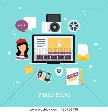 Video blogging concept. Template blogging infographics. Blog concept design. Flat design style modern vector illustration concept.