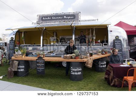 Amsterdam Netherlands-May 14 2016: Air stream caravan food truck selling cous cous