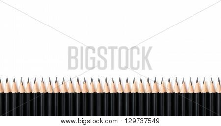 The same black bold pencils standing in row like a crowd on white background with space for text. Organization, teamwork, team strategy, passive concept.