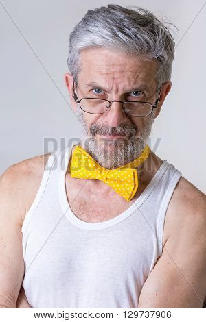Funny Man With Bow Tie Arround His Neck