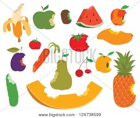 Various fruits bite, eaten apple shape vector and sweet fruit bite food. Food healthy isolated fresh apple fruit bite and diet juicy, green delicious fruit bite eat dessert nutrition. Fruit bite.