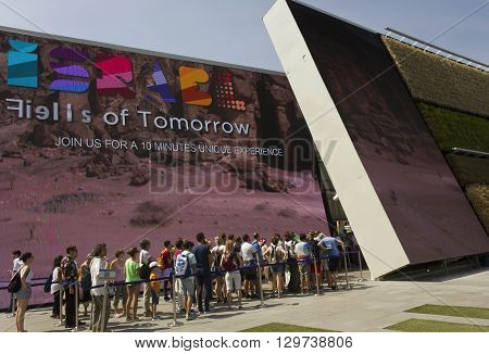 MILAN, ITALY - JUNE 29 2015: People queuing at Israel Pavilion at Universal Exhibition in Milan in June 29 2015
