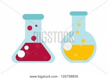 Chemical laboratory transparent flasks with color liquid. Laboratory flask with liquid vector and glass science equipment flask with liquid. Experiment scientific medical tube flask with liquid.
