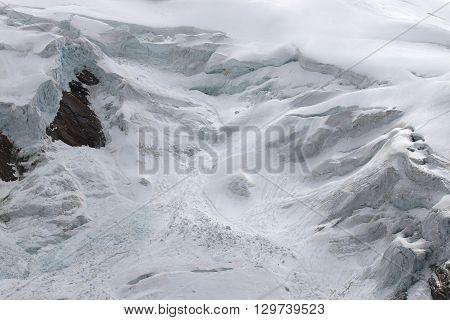 Glacier at Weissmies Mountain in Pennine Alps. Switzerland