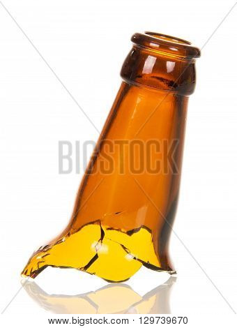Repulsed the neck of glass beer bottles isolated on white background