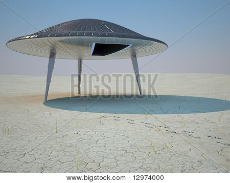 UFO and footprints