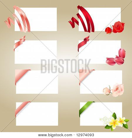 Set of blank white cards with ribbons