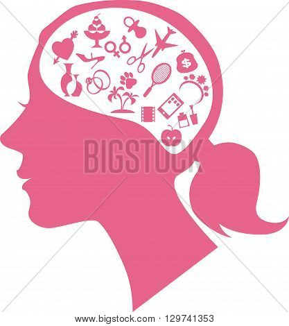 Female profile filled with assorted symbols of women's interests representing female mind or way of thinking