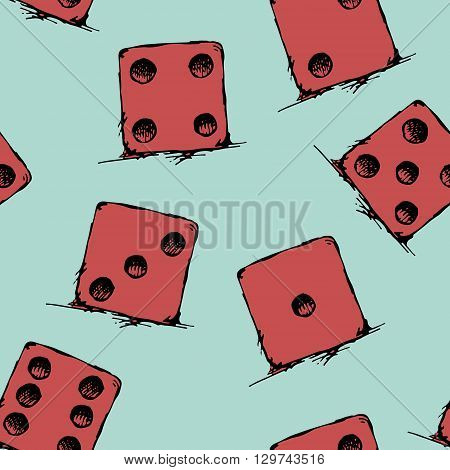 Game dice set. Luck, success. Hand drawn vector stock illustration. Seamless background pattern