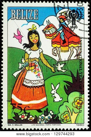 MOSCOW RUSSIA - MAY 14 2016: A stamp printed in Belize shows princess and prince - scene from a fairy tale