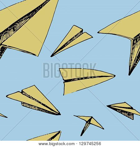 Paper planes pattern. Colorful vector stock illustration. Seamless background pattern