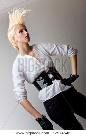 Punk Blonde Attractive Fashion Girl