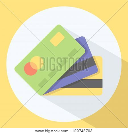 Credit Card Stack Flat Style Icon With Shadow