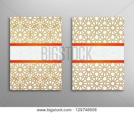 Islamic pattern. Brochure and flyer in islamic design. Vector geometric background in islamic style