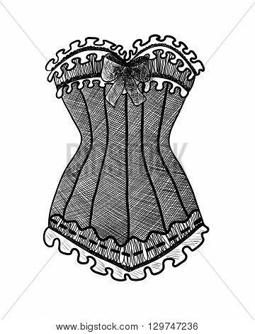 Corset on white background. Black and white fashion illustration