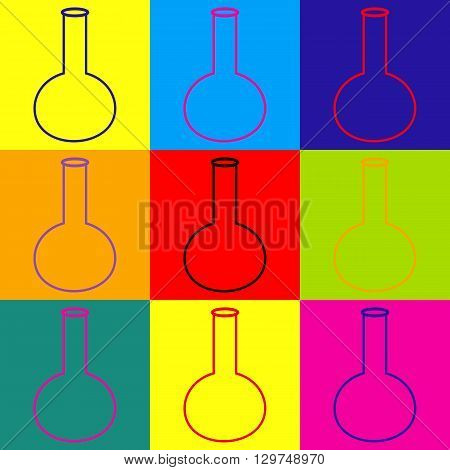 Tube. Laboratory glass sign. Pop-art style colorful icons set.