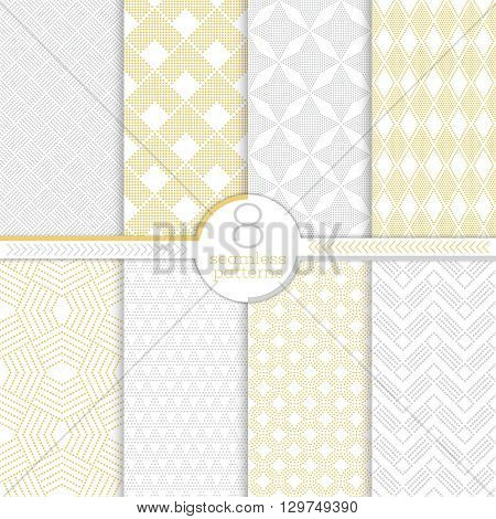 Set of seamless patterns. Collection of modern stylish dotted textures. Regularly repeating geometrical ornaments with different geometric shapes. Modern vector design