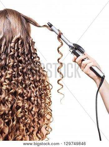Hairdresser long curls girl groomed hair isolated on white background.
