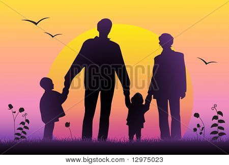 family sunset silhouette vector