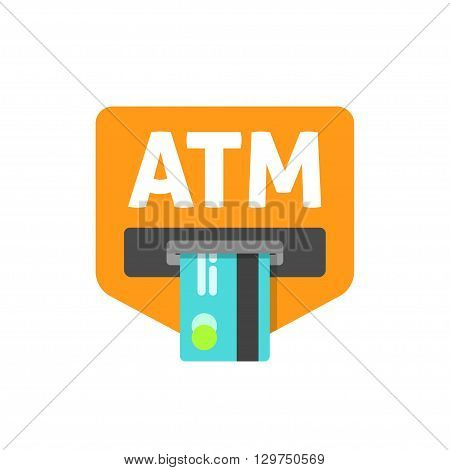 ATM credit card sign vector illustration, cash machine inserting credit card, atm sign, electronic device, flat icon, modern simple design isolated on white red background