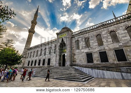 ISTANBUL - AUGUST 18: Blue Mosque on August 18 2015 in Istanbul. European tourists go to Blue Mosque in Istanbul at sunrise