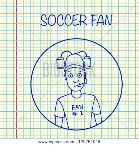 Fan with beer helmet. Sport, soccer. Hand drawn on sheet vector stock illustration