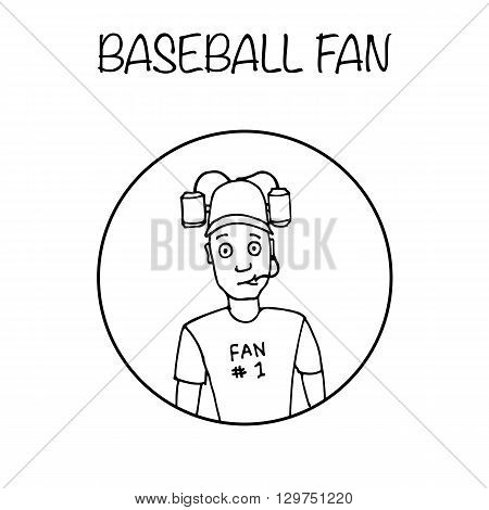 Fan with beer helmet. Sport, baseball. Hand drawn black and white vector stock illustration