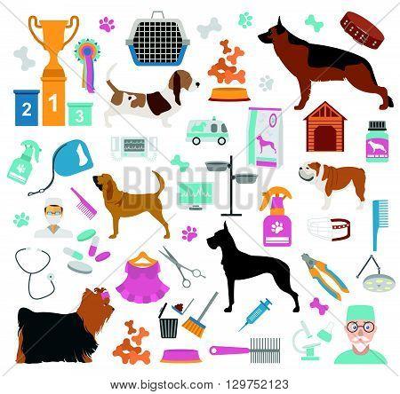 Dog icon set. Heatlh care, vet, nutrition, exhibition. Vector illustration