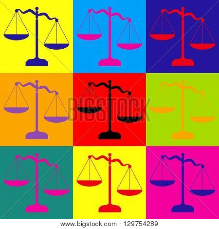 Scales of Justice sign. Pop-art style colorful icons set.